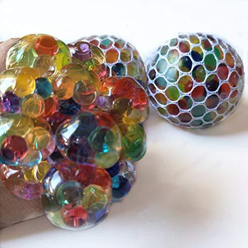MEIFU New Anti Stress Balls (2.56 in)-Squishy Light Up Balls -Mesh Balls ( Random 2PCS) - Multi Color Squeeze Grape Balls - Stylish Squishy Balls Perfect Stress Relief Balls for Everybody