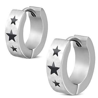 bungsa® Negra Estrellas Pendientes de aro de plata 4 mm - 1 par Klap ...