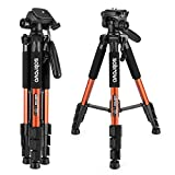 Portable Travel Lightweight Camera Tripod for Canon Nikon Sony Olympus DV DSLR SLR with a Bag, Adjustable from 18inch to maximum height of 55inch, Weights only 2.6lb, Load Up to 11lbs(Orange)