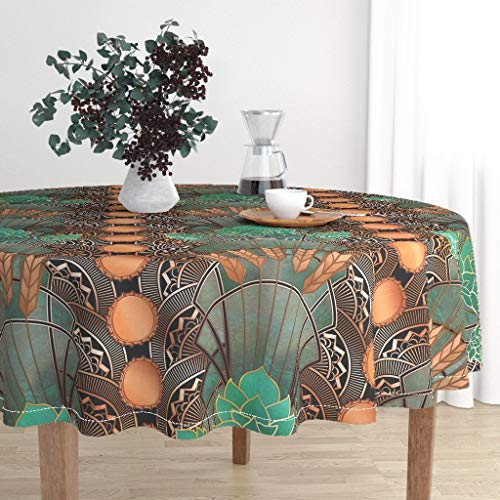 cloth - Beer Art Deco Hops and Barley Copper Patina Bottlecaps Verdigris Art Deco Large by Ghouk - Cotton Sateen Tablecloth 90in ()