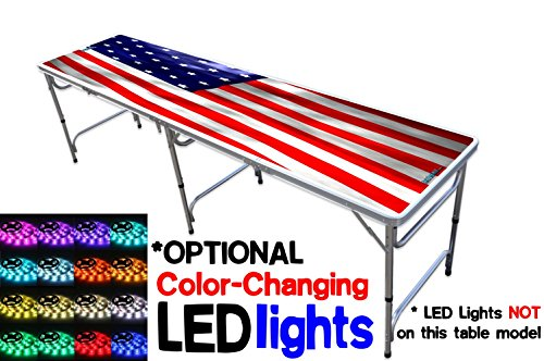 Price comparison product image Portable Folding Table w / US Flag Graphic - Adjustable Length (8 ft or 4 ft) Adjustable Height (Kid Size & Standard Size) Party Table