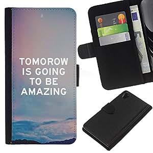 For Sony Xperia Z2 D6502 Case , Quote Sky Amazing Text - la tarjeta de Crédito Slots PU Funda de cuero Monedero caso cubierta de piel