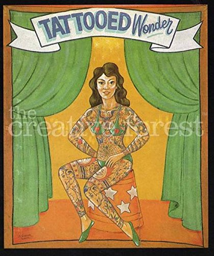 Tattooed Wonder Vintage Freak Show Poster Reproduction Print On Canvas 24x27 In