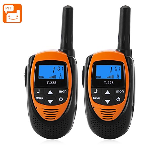 T-228 Walkie Talkies - 22 Channels, 99 Sub Codes, Backlit LCD Display, 4KM Range, Belt Clip (Orange)