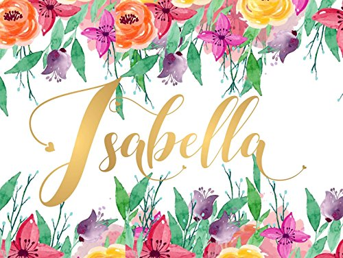 Isabella Name Wall Decor Sign Gold Monogram Initial Letter I UNFRAMED POSTER A3 Baby Girl Gift Birthday Quote Calligraphy Names Print Watercolor Floral Hand Lettering Rose Gold ()
