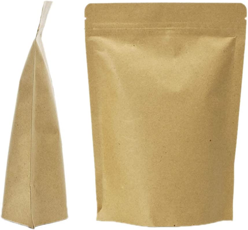 50 Pcs Stand Up Kraft Paper Bag Food Storage Pouch with Foil Lined Resealable Zip Lock for Coffee Beans Nuts Tea, 3.5