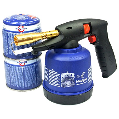 Lötlampe Lötbrenner Bunsenbrenner Piezo löten Lötgerät Laser 3000 + 2 Gas-Kartuschen