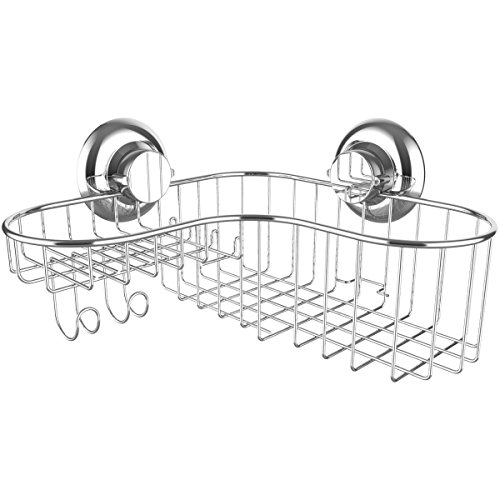 Shower Caddy Suction Cup Corner Combo Powerful Vacuum System Organizer Basket with Soap Holder and Hooks for Shampoo Conditioner Holder, Rustproof 304 Stainless Steel for Bathroom Shelf Storage (Corner Basket Combo)