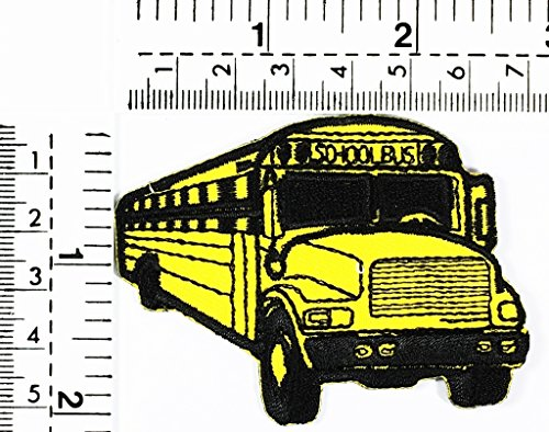 Yellow bus stop school bus student bus classic car kids cartoon patch Applique for Clothes Great as happy birthday gift -