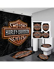 """4 pcs Harley Davidson Shower Curtain Bath Room Sets 3D Shower Curtain Sets with Rugs Toilet Lid Cover and Bath Mat, hower Curtains with 12 Hooks (65"""" X 70"""")-I"""