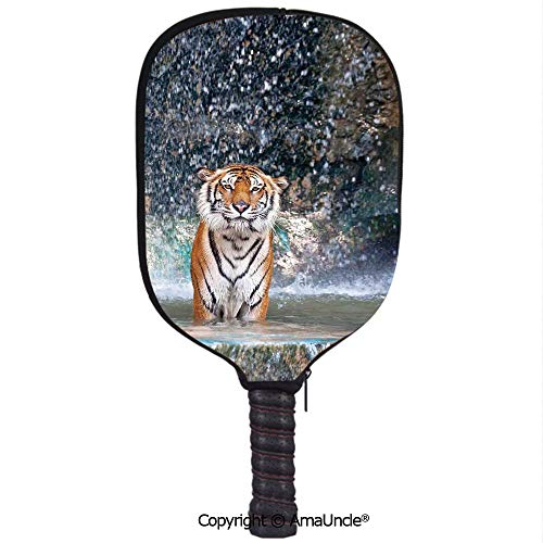 SCOXIXI Customized Racket Cover, Stylish Image of a Large Majestic Tiger in The Waterfall Exotic Wildlife Animal in NatureRacket Cover,Protect Your Pickleball Paddles