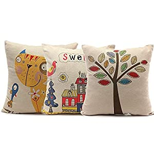 3NH® Vintage Linen Cotton Pillow Case Animal Home Decor Cushion Cover