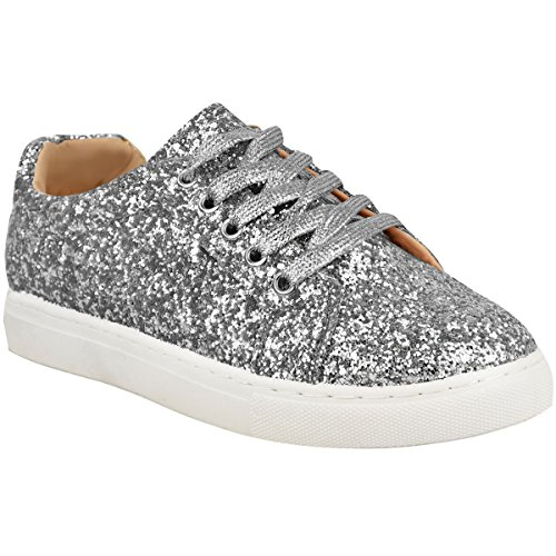 Flat Shoes Sparkly (Fashion Thirsty Womens Flat Lace Up Glitter Sparkly Sneakers Trainers Plimsolls Shoes Size)