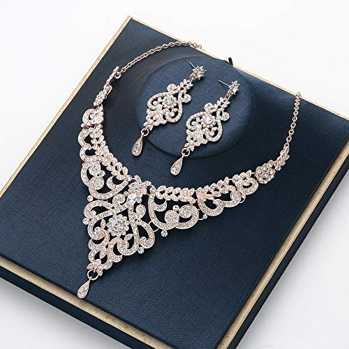 HapiBuy Crystal Rose Gold Wedding Jewelry Set Necklace and Earring Set for Women and Brides (Rose Flowers Necklace Sets)