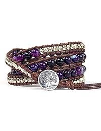 Tree of Life Bracelet Purple Agate Beaded Wrap