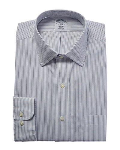 - Brooks Brothers Mens 1818 Regent Fit Dress Shirt, 16H 36/37, Grey