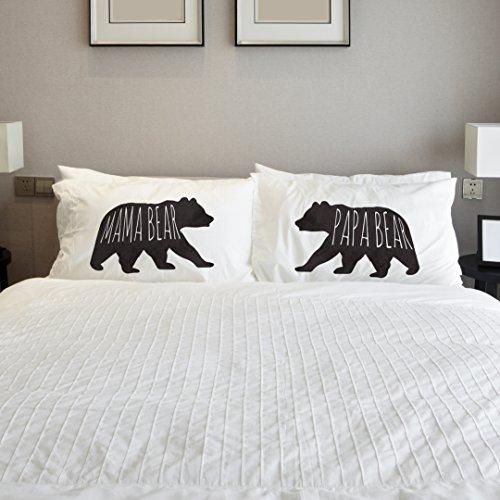 One Bella Casa 14523PCE59 Mama Bear Papa Bear Pillowcases by OBC, Set of 2,Black