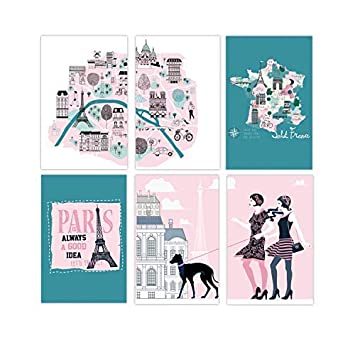 Set Of 6 11x17 Paris Wall Art Posters | French Theme Wall Art Prints For  Teenager Girls Bedroom Decorations | Cool French Posters | Unique Poster Of  ...