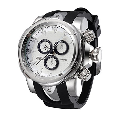 Men's Stailness Steel Dial with Silicone Big Head Quartz Watch (Silver)