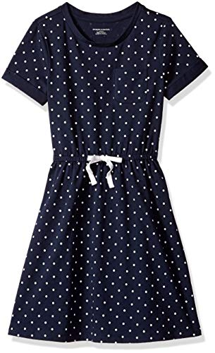 (Amazon Essentials Little Girls' Short-Sleeve Elastic Waist T-Shirt Dress, Navy Simple dot with White Bow, M)