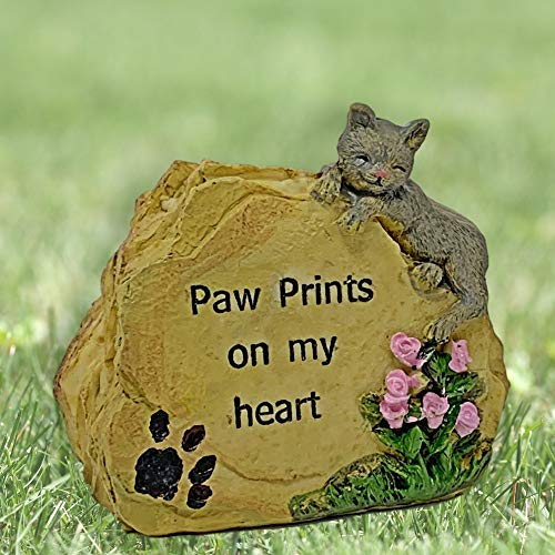 BANBERRY DESIGNS Cat Memorial Message Rock Paw Prints on My Heart