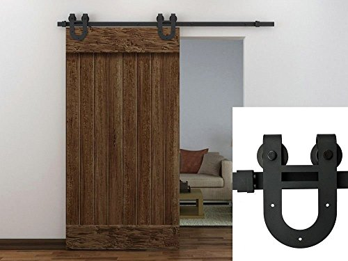 Ediors® NEW 6.6u0027 FT Frosted Black Country Barn Wood Steel Sliding Door  Closet, Hardware (Antique Horseshoe)