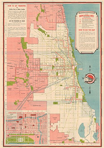 Historic Pictoric Map | Chicago Transit Maps, Rapid Transit Lines 1941 Railroad Cartography | Vintage Poster Art Reproduction | 24in x 16in