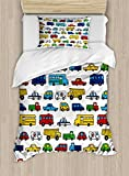 Lunarable Boy's Room Duvet Cover Set Twin Size, Hand Drawn Doodled Car Pattern Cartoonish Style Police Ambulance School Bus Car, Decorative 2 Piece Bedding Set with 1 Pillow Sham, Multicolor