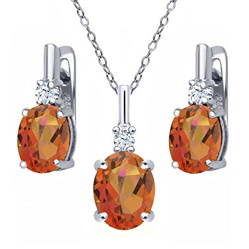 6.98 Ct Twilight Orange Mystic Quartz White Topaz 925 Sterling Silver Pendant Earrings Set - Twilight Topaz Pendant