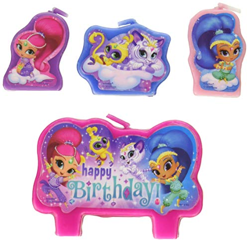 (amscan Shimmer and Shine Happy Birthday Candle Sets (4 ct) One Size, Multicolor)