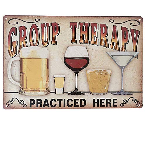 (UNIQUELOVER Group Therapy Practiced Here Retro Vintage Metal Tin Signs Pub Bar Decor 12 X 8)