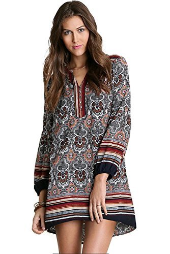 Umgee USA Boho Chic Print Baby Doll Dress Reg & Plus – Medium, Latte