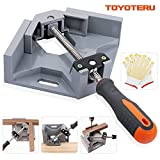 TOYOTERU 90 Degree Corner Clamp Adjustable Bench Vise Tool for Woodworking Welding Doweling Aquarium Cabinet Frame Water Tank - Single Handle with Gloves