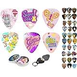 Guitar Picks For Kids & Girls 12 Medium Celluloid Picks Complete W/ Sleek Tin Box & Pick Holder. Premium Gift Set For Daughter,Granddaughter, Colorful Designs Best Holiday, Birthday Present
