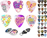 kid guitar pic - Guitar Picks For Kids & Girls 12 Medium Celluloid Picks Complete W/ Sleek Tin Box & Pick Holder. Premium Gift Set For Daughter,Granddaughter, Colorful Designs Best Holiday, Birthday Present