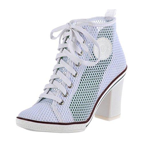 Women's Rivet Lace up High Heel Canvas Sneakers Ankle Bootie Mesh Light Blue US (High Heel Mesh Heels)