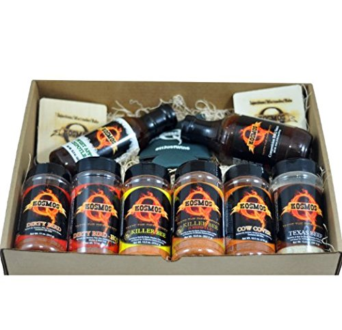 The Pit Master - Gift Basket is the best of the Backyard Grill BBQ Gift Basket - Spices & Sauce 11pcs set. What you get in this gift box:
