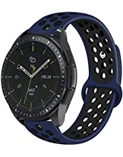 20mm Smart Watch Bands, Yoursea Silicone Sport Quick Release Watch Strap Wristband for Samsung Galaxy Watch 42mm R810 & Gear Sport Smartwatch R600/Galaxy Watch Active/Garmin VivoActive 3 (blue-black)