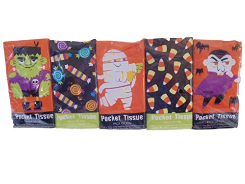 Halloween Facial Makeup (Halloween Candy and Ghouls Pocket Facial Tissues 10 Pack 100 Tissues)