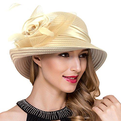 Women Kentucky Derby Church Dress Cloche Hat Fascinator Floral Tea Party Wedding Bucket Hat S052 (S608-Champagne)