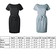 Poperdision Women's Elegant Pencil Dress Short Sleeve Wear to Work Casual Office Dress with Belt
