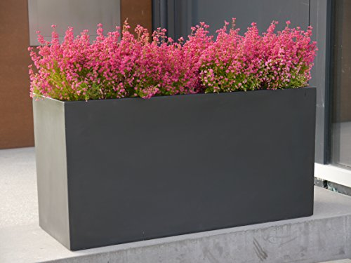 Großer Pflanztrog aus Fiberglas der BUNDESGARTENSCHAU 120x50x55cm in schwarz, Pflanzkübel, Blumenkübel, Pflanztröge, Pflanzgefäße