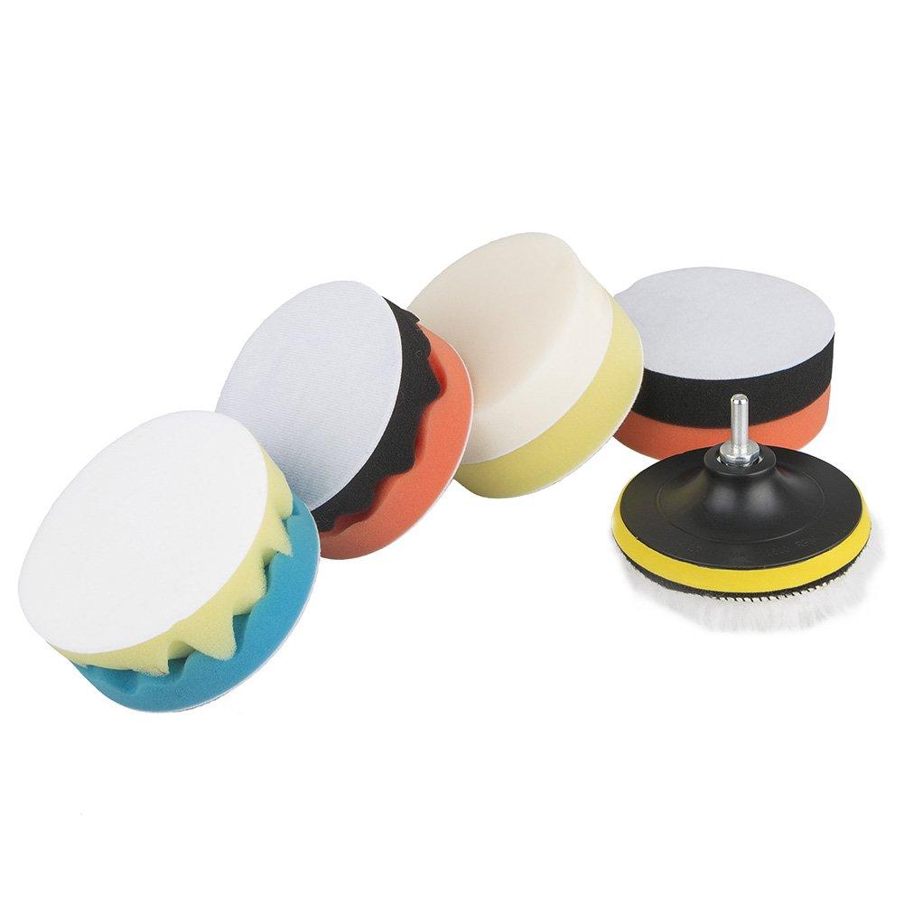 Polishing Waxing Buffing Sponge Pads Kit Compound Car Polisher Tools Kit 5'/6'/7' 11Pcs (5 inch) ASOSMOS
