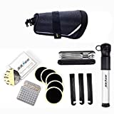 SAHOO Bicycle Repair Tool Set Kit with Saddle Bag Bike Mini Pump Tire Inflator Patch Crowbar All in One