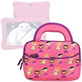Evecase 7inch Dragon Touch Y88X Plus 2017/Y88X Kids Android Tablet Sleeve, Cute Princess Themed Neoprene Travel Carrying Slim Sleeve Case Bag w/ Dual Handle and Accessory Pocket - Pink w/ Purple Trim