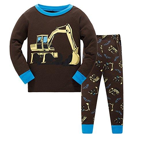Guraxi Boys Pajamas,Long Sleeve Pants Kids Sleepwear Set Cotton Comfortable Size 2T-7T (7, Excavator7) - Kid Comfortable Sleepwear Pants