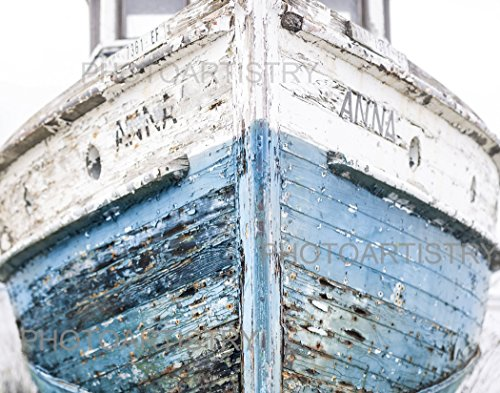 Nautical Decoor Ship 11x14 Fine Art Print - Navy, Blue and White colors - vintage, shabby, Beachy, Wall ()