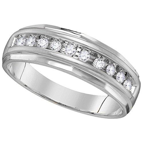 14kt White Gold Mens Round Diamond Single Row Grooved Wedding Band Ring 1/4 Cttw (I2-I3 clarity; J-K (Mens Single Diamond Band)