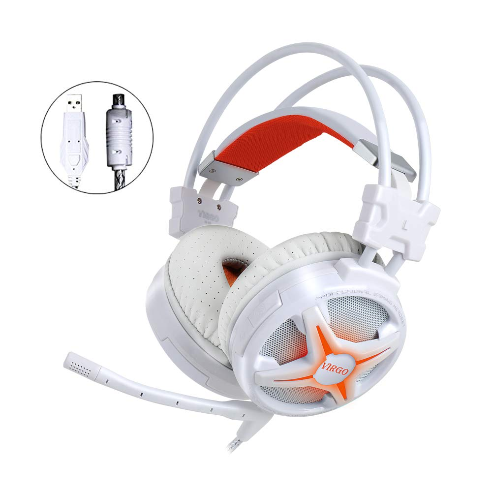 WeIM 2019 Gaming Headset Virgo M60 White 7 1 Surround Sound for PC,  Intelligent Vibration, Strong Bass, Voice Changer, Flexible Sensitive Mic,  LED