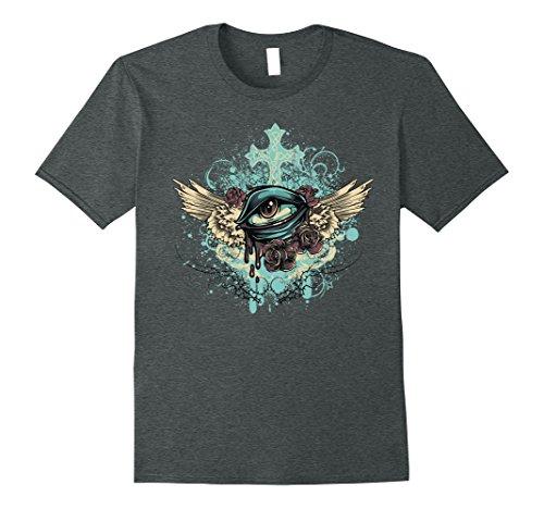 Mens Unique Vintage Eye & Cross & Feather Wing Art T-Shirt & Gift 3XL Dark Heather